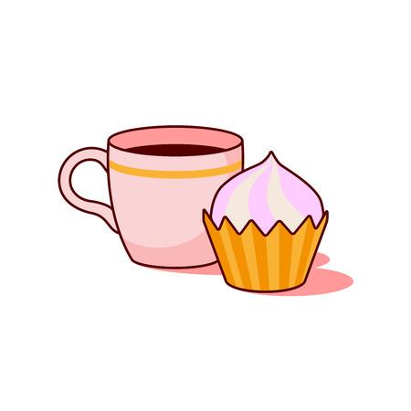 Tasse Kaffee und Kuchen auf weißen Hintergrund Vektor. Standard-Bild - 65735186