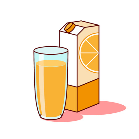 Orange juice in a glass and packaging on a white background vector. Illustration
