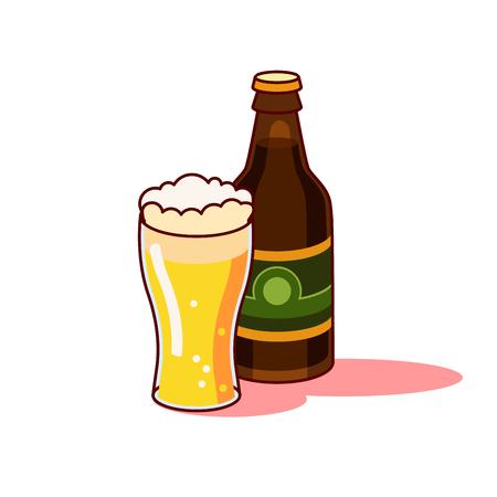 プレミアムビア グラス、白い背景で隔離のボトル。  イラスト・ベクター素材