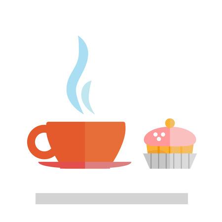 Kaffee und Kuchen isoliert auf weißen Hintergrund. Standard-Bild - 65735223