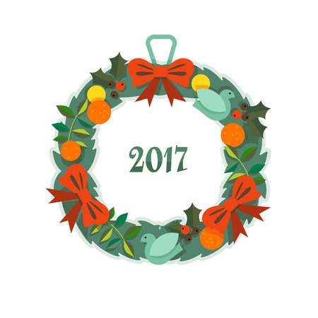 Christmas wreath and a bouquet in the background Illustration