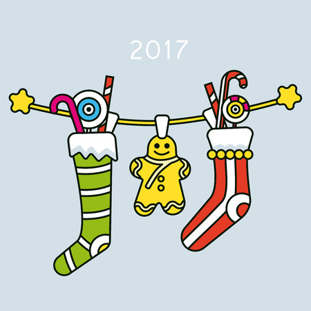 Christmas sweets and gifts hanging on a rope. Illustration