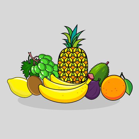 Set of fruits isolated on dark background. Illustration