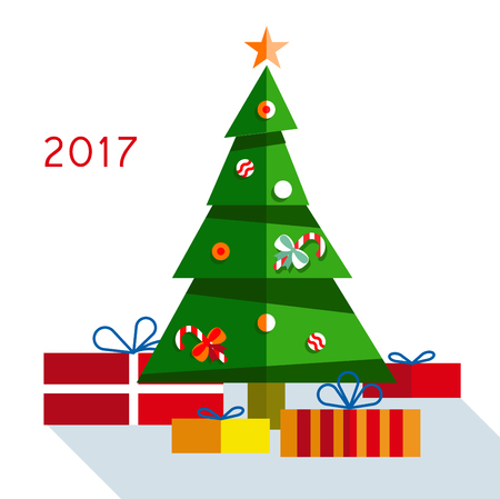 Christmas tree with gifts in 2017 on background. Illustration