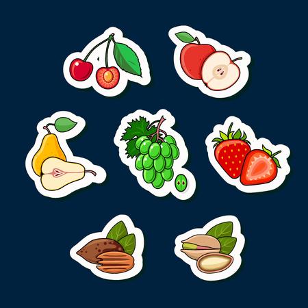 pistachios: Set of fruits isolated on dark background. Illustration