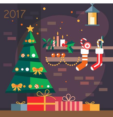 2017 년 선물로 크리스마스 트리.