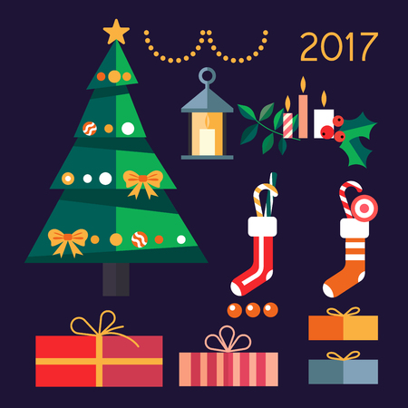 Christmas tree with gifts in 2017.