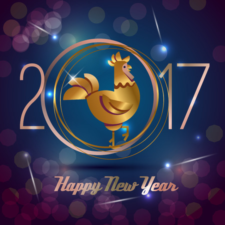Flat style Year of the rooster card 2017