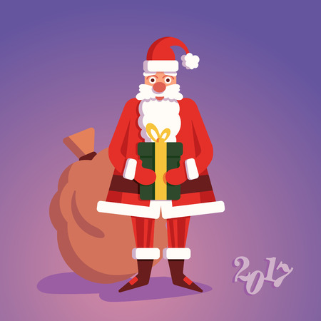 Christmass Santa Claus with gift on background card Stock fotó - 68604905