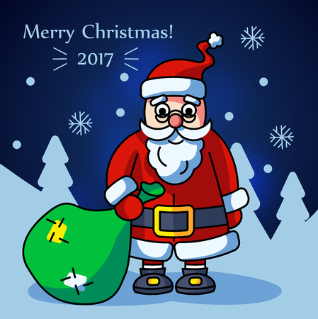 Christmass Santa Claus with gift Иллюстрация