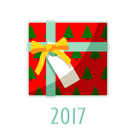 Christmas sweets and gifts hanging on a rope in 2017 with background.
