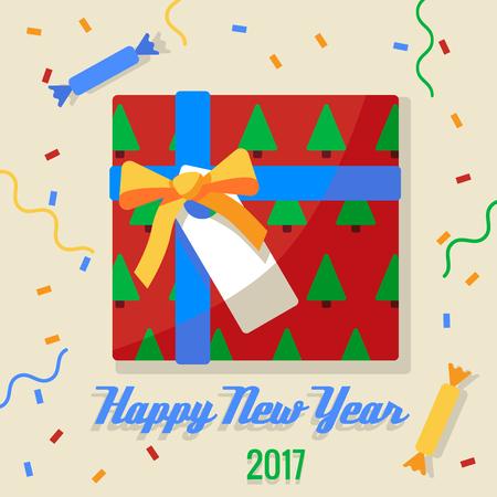 크리스마스 과자 및 선물 2017 배경에서 로프에 매달려. 일러스트