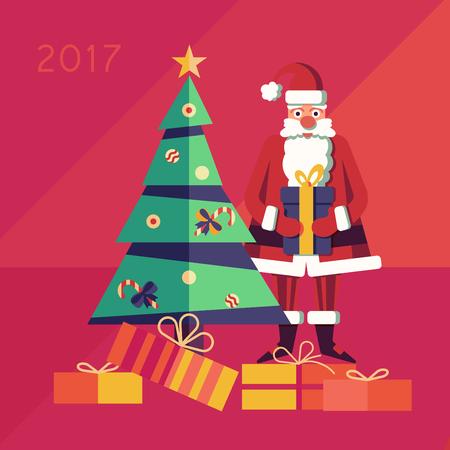 배경 카드에 선물을 크리스마스 산타 클로스 일러스트