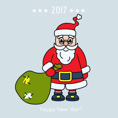 Christmas Santa Claus with gift on background card