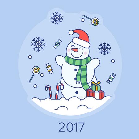 눈 덮인 숲의 배경에 크리스마스 눈사람 일러스트