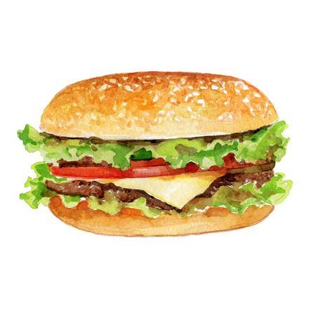 Watercolor Burger with meat and cheese isolated on white background. Imagens