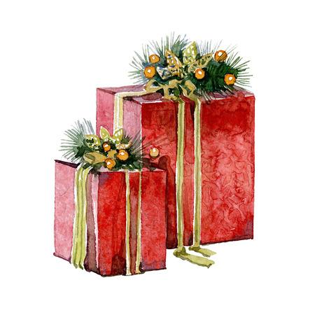 흰색 배경에 수채화 크리스마스 선물