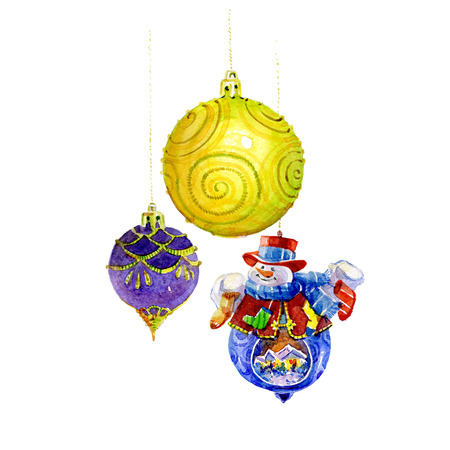 Watercolor Christmas tree toys on a white background.