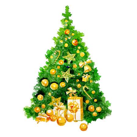 배경에 선물 및 과자 2017 수채화 크리스마스 트리.