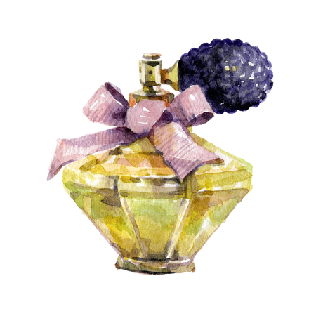 Watercolor perfume isolated on white background.