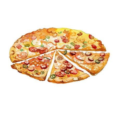 수채화 피자 조각 흰색 배경에 고립.