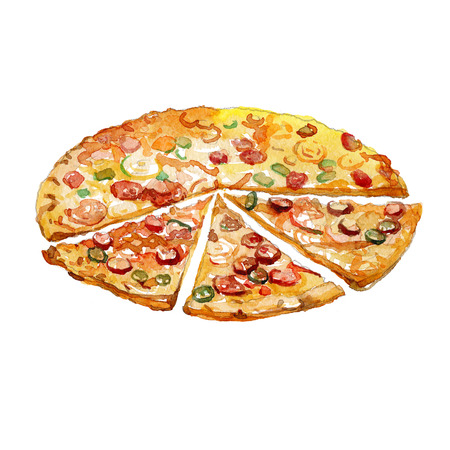 Watercolor Pizza pieces isolated on white background. Фото со стока
