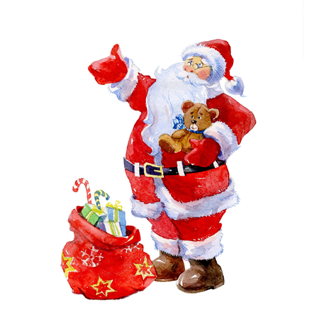 Watercolor Christmas Santa Claus with gift on background card