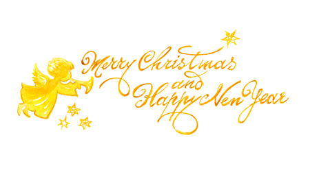 font design: Watercolor Christmas and New Year greeting inscription for card with angel.