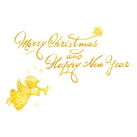 수채화 크리스마스와 새 해 인사 카드 비문 천사.