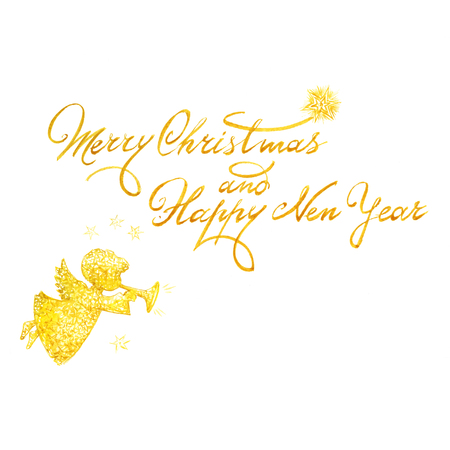Watercolor Christmas and New Year greeting inscription for card with angel.