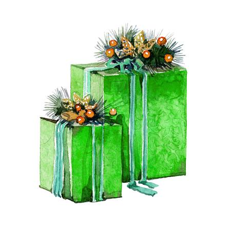 흰색 배경에 상자에 수채화 크리스마스 선물
