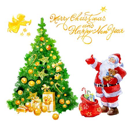 수채화 크리스마스 카드로 산타 클로스 선물 및 크리스마스 트리와 천사 흰색 배경에 고립.
