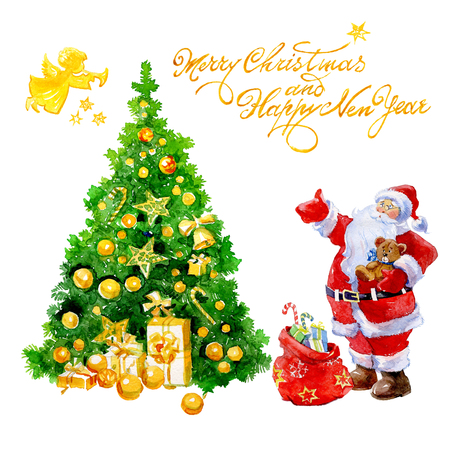 Watercolor Christmas card with Santa Claus gifts and Christmas tree and angel isolated on white background.