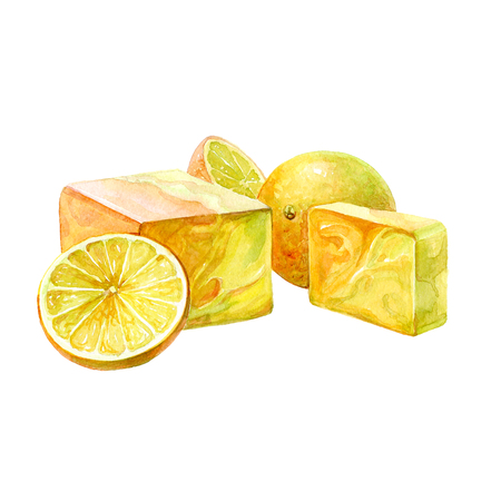 Watercolor handmade bath soap with fruits and herbal isolated on white background.