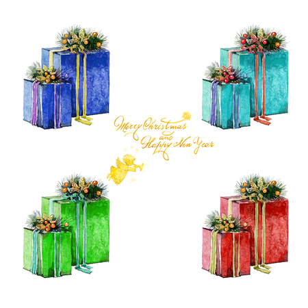 Watercolor Christmas presents in boxes and inscription with angel on a white background