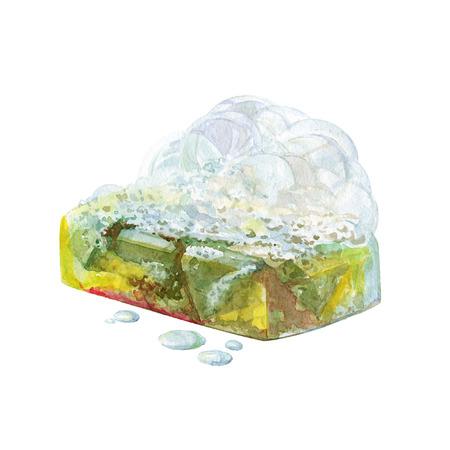 과일과 허브 흰색 배경에 고립 수채화 수 제 목욕 비누. 스톡 콘텐츠