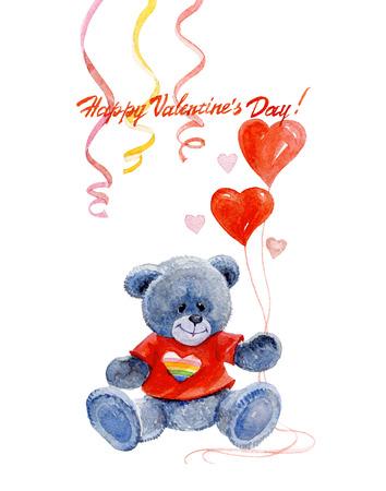 수채화 발렌타인의 날 게이 카드 곰과 흰색 배경에 고립 된 마음 일러스트 레이 션. 스톡 콘텐츠