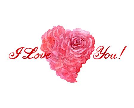 장미 심장 카드로 수채화 발렌타인 하루 흰색 배경에 고립 일러스트 레이 션. 스톡 콘텐츠