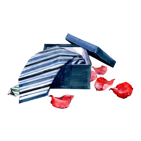 Watercolor Valentines Day card striped tie with rose petals isolated on a white background illustration.