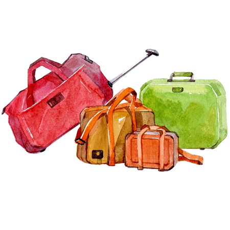 Watercolor set of travel bags isolated on a white background illustration. Фото со стока