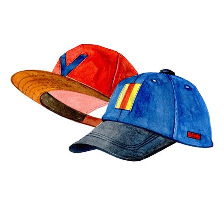 흰 배경에 고립 수채화 빨강 및 파랑 야구 모자 그림입니다.