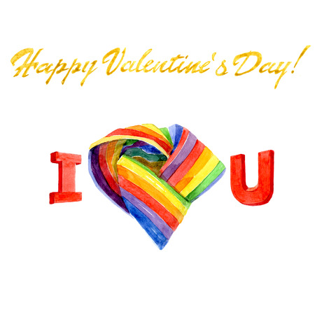 Watercolor Valentine s Day gay card with heart isolated on a white background illustration.