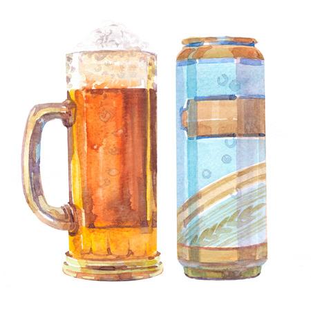 수채화 현실적인 맥주 유리 및 흰색 배경에 맥주의 수 그림입니다.