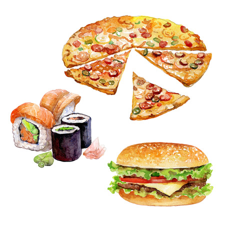 Set of watercolor fast-food with Burger, Sushi, Pizza pieces on white background.