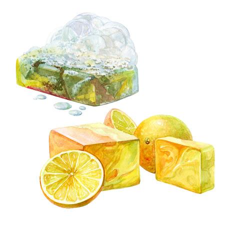 과일과 허브 흰색 배경에 격리와 수채화 수 제 목욕 비누의 집합입니다.