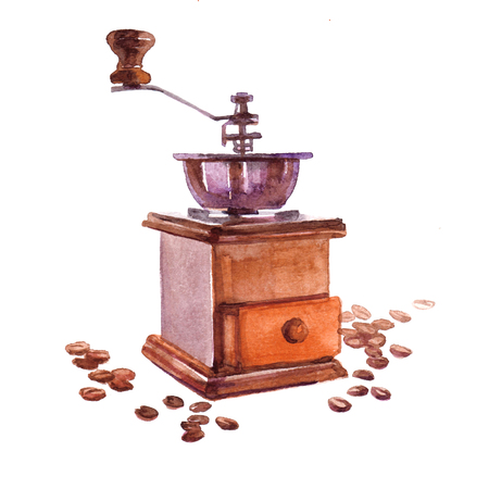 flavor: Watercolor coffee beans with coffee hand mill isolated on a white background illustration.