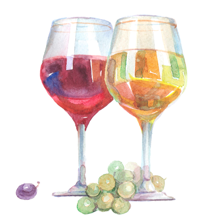 흰색과 빨간색 와인 내부에 수채화 와인 안경 격리 흰색 배경에 그림.
