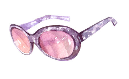 Watercolor sunglasses illustration isolated on white background