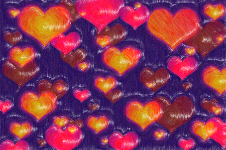 Multicolored different hearts, pencil drawing effect, dark violet background