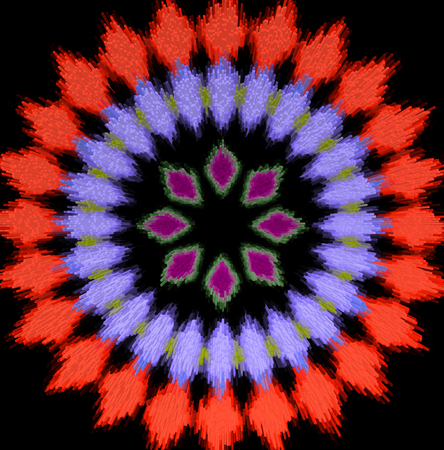 Abstract red and violet diamond radial pattern, black background